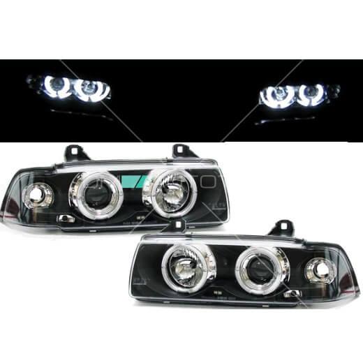 BMW-E36-Scheinwerfer-Angel-Eyes-Klarglas-Schwarz-Coupe-Cabrio-alle-Modelle-90-99