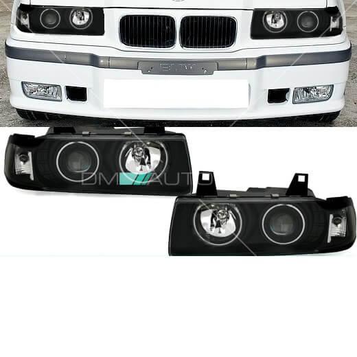 BMW-3er-E36-CCFL-Angel-Eyes-Scheinwerfer-Coupe-Cabrio-Schwarz-alle-Modelle-91-99