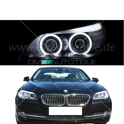 bmw e60 e61 xenon scheinwerfer black ccfl angel eyes f10. Black Bedroom Furniture Sets. Home Design Ideas