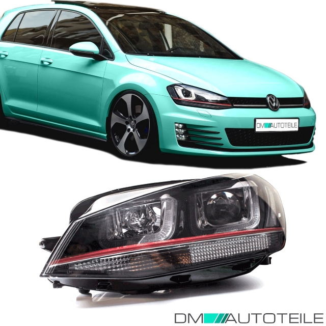 vw golf 7 vii gti r 3d led tagfahrlicht scheinwerfer set xenon optik rote leiste ebay. Black Bedroom Furniture Sets. Home Design Ideas