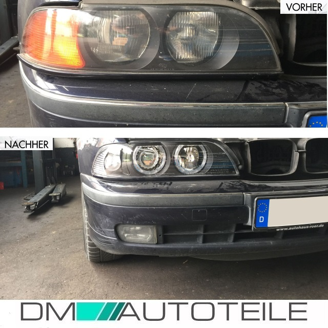 bmw e39 klarglas facelift scheinwerfer angel eyes schwarz. Black Bedroom Furniture Sets. Home Design Ideas