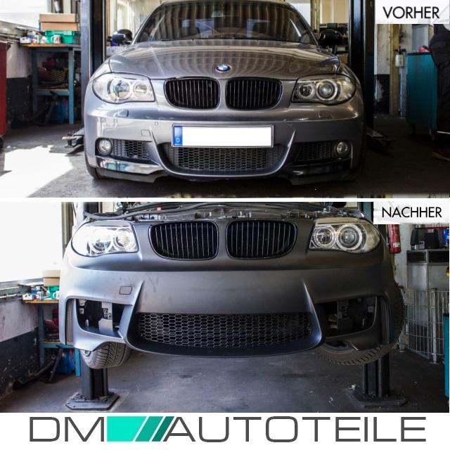 LACKIERT Sport Stoßstange vorne passt für BMW E88 E87 E82 E81 NSW Klarglas+Grill