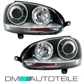 VW Golf 5 V left + right headlights lights halogen black...