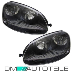 VW Golf 5 headlights Set black GTI H7/H7 sockets inner...