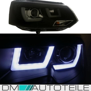 VW T5 GP Facelift headlights Set clear glass black 3D...