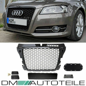 Badgeless Front Grille Grille Honeycomb Black Gloss fits...
