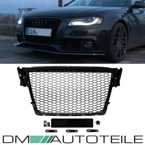 Front Grille honeycomb black finish + license plate holder suitable for Audi A4 B8 08-12 + RS4