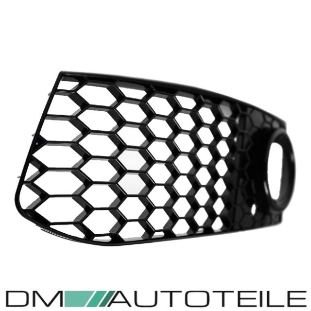 DM Autoteile Wabengrill Nebelscheinwerfer SET Schwarz Hochglanz passend f/ür A4 B8 08-12