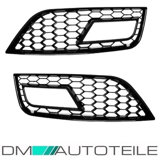 Front Bumper Grille Covers for Fog lights Black Gloss suitable for Audi A4 B8 11-15 + RS4
