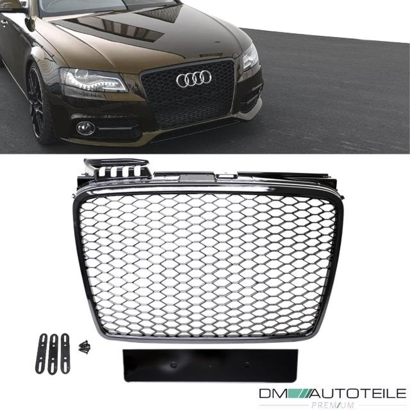 Badgeless Front Grille Grille Honeycomb Black Gloss Fits Audi A4 B7 04 08 Rs4 Mod