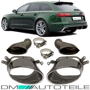 Set Audi A6 C7 4G Saloon Tail Pipes Exhaust System fits...
