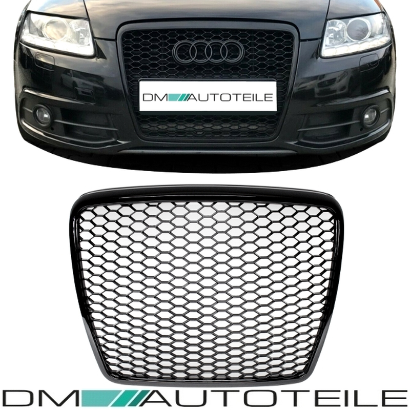 badgeless front grille grill honeycomb black gloss for audi a6 4f 08 86 00. Black Bedroom Furniture Sets. Home Design Ideas