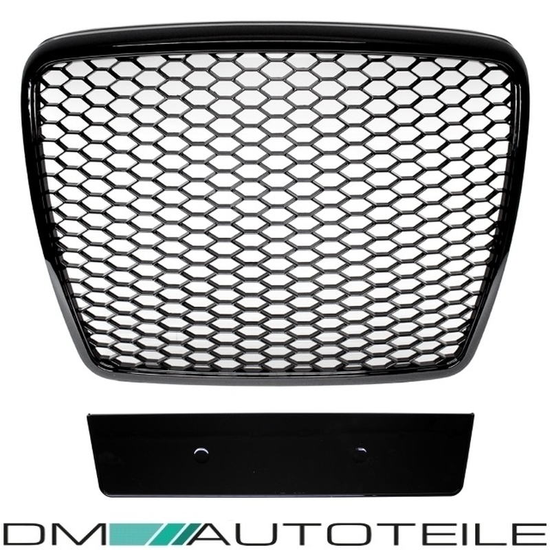 Badgeless Front Grille Grill Honeycomb Black Gloss for Audi A6 4F 08-11 +RS