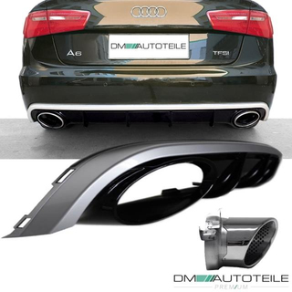 Audi A6 C7 Rear Diffusor Saloon Avant 11-14 Black + Tail Pipes for RS6 Exhaust Outlet