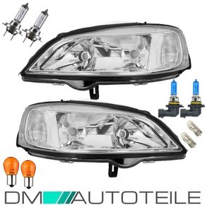 Set Opel (Vauxhall) Astra G headlights clear glass chrome...