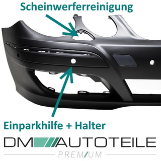 Mercedes W211 E-Class Front Bumper primed for Park assist / headlamp washer Elegance 06-09
