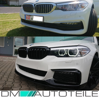 SET Kidney Front Grille Dual Slat Black Gloss fits on BMW 5-Series G30 G31 2017>
