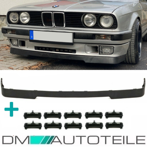 Front lip Splitter Spoiler black + 10x clips fits on BMW...
