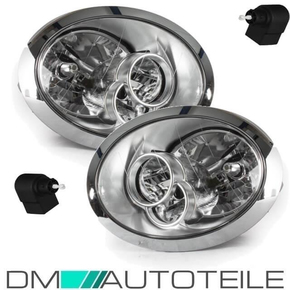 Set Mini R50 R52 R53 headlights left & right chrome 04-06...