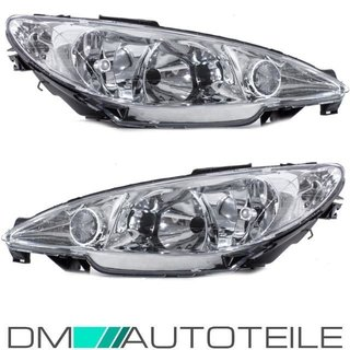 Set Peugeot 206 headlights clearglass chrome 98-07 H7/H7 without actuator OEM