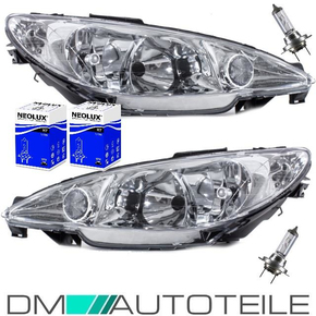 Set Peugeot 206 clear glass headlights left & right 98-07...
