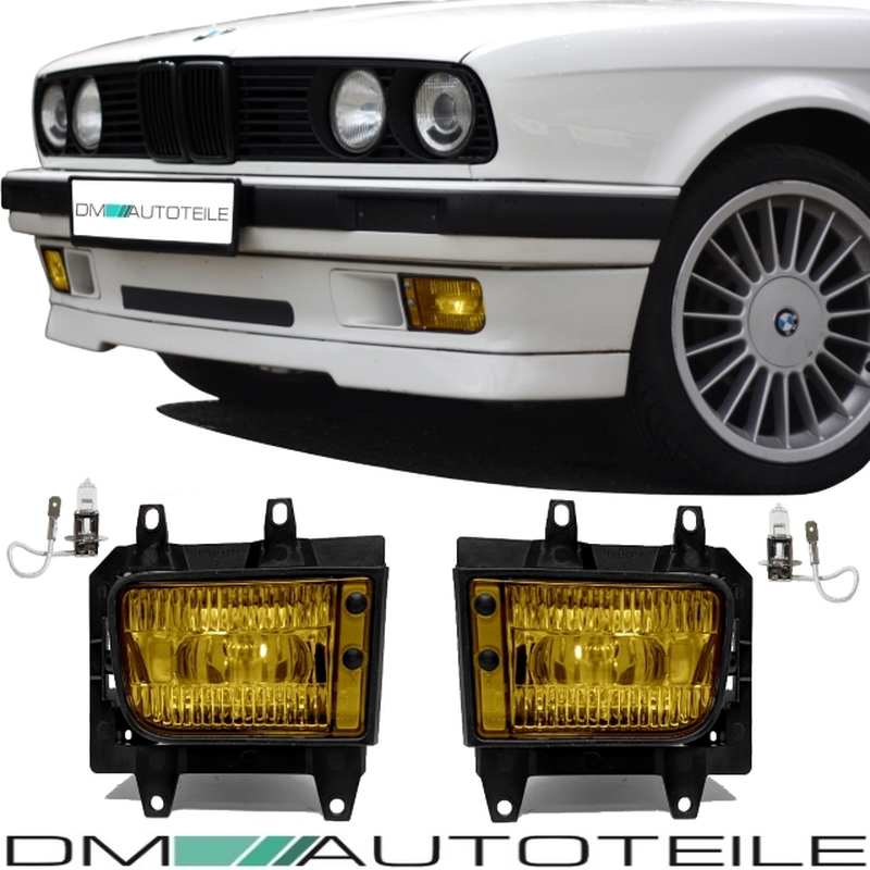 SET Fog Lights Fogs Glas Yellow Clear +H3 Bulbs fits BMW E30 all Models  Facelift