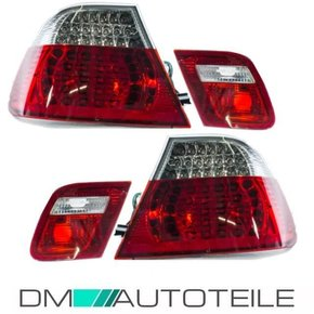 SET LED RED CLEAR TAIL LIGHTS fits on BMW 3-Series E46...