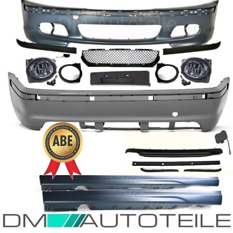 Bumper Full Bodykit Front Rear Side Fogs Fits On Bmw E46 Not M Sport Tech Ii