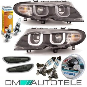 FACELIFT Scheinwerfer Schwarz Set 3U LED Angel Eyes +...