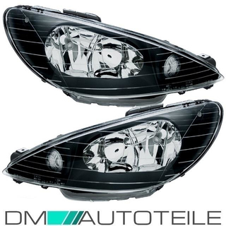 Peugeot 206 headlight clearglass left & right black 98-06 H7/H7