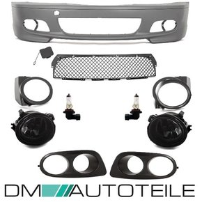 Set Front Bumper + fog lights  + 2-hole covers Black fits...