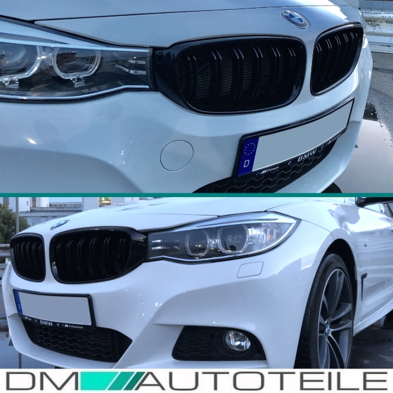 Front Grille Dual Slat Kidney Sport Black Gloss Fits For Bmw 3 Series F34 Gt 13 18