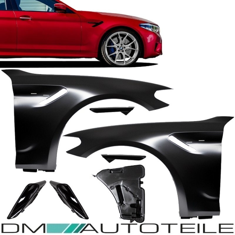 2x Fender Wing Set +Cover Gloss Black fits for BMW 5 G30 / G31 up 2017 not  M5