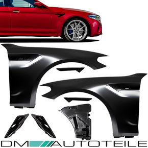 2x Fender Wing Set +Cover Gloss Black fits for BMW 5 G30...