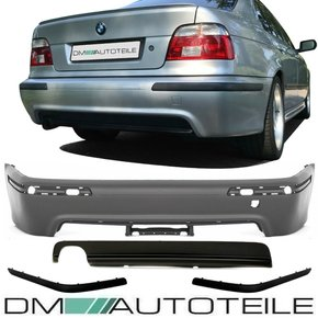 Saloon Rear Bumper complete w/o park assist primed 95-03 + Diffuser fits on BMW E39 without M-Sport TÜV certified