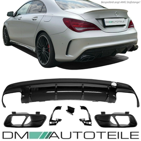 Duplex Diffusor Black Gloss + Tail Pipes fits on Mercedes...
