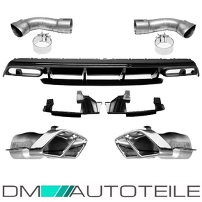 Rear Diffusor Black Gloss + Red Lip + Tail Pipes fits on...