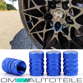 Aluminium valve caps set of 4 in blue anodized for all...