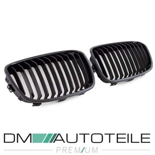 Set Dual Slat Kidney Front Grille Black Gloss fits BMW 1-series F20 F21 up 11-15
