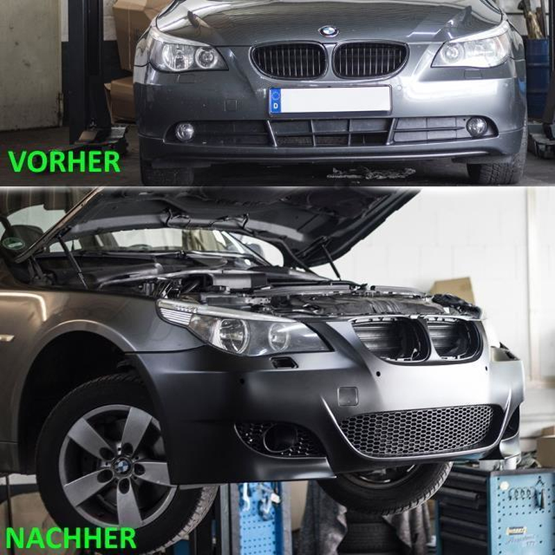 Set Sport Front Bumper Black For Headlamp Washer Park Assist Fog Lights Fits On Bmw 5 Series E60 E61 Without M5 Accessories 03 07