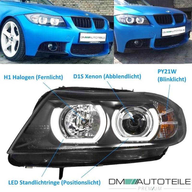 Bmw 3 Series E90 E91 3u Led Drl Xenon Headlights Black D1s Year 05 08