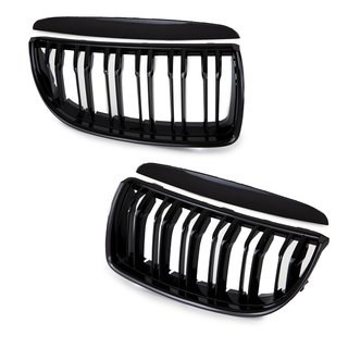 Set Sport Dual Slat Kidney Front Grille Black Gloss fits on BMW E90 E91 up 05-08